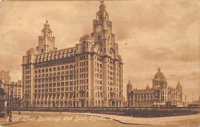 uk21748 royal liver buildings and dock offices liverpool real photo uk