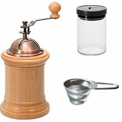 Set buy HARIO Hand-ground coffee mill column & coffee canister & Measuring spoon