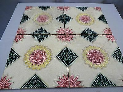 Vintage Tiles Ceramic Porcelain Flower Design Art Nouveau Majolica Japan 4 Piece