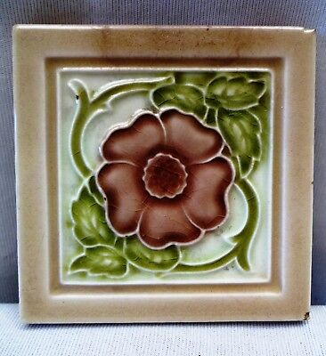 Antique Tile Miniature England Vintage Majolica Collectibles Art Nouveau Genuine
