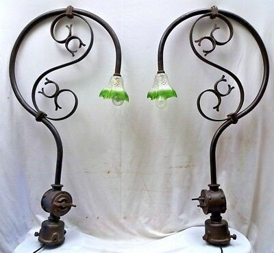 Vintage Wrought Iron Porch Light Pair Out Door Lamp Street Light Chandelier Old