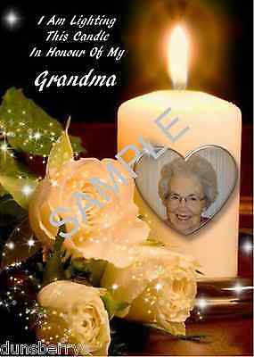 Personalised Candle Photo/Birthday/Anniversary/Remembrance/Grave/Memorial Card