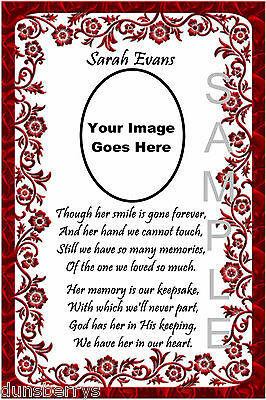 Personalised Photo Birthday/Anniversary/Remembrance/Grave/Memorial Card