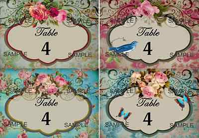 Vintage/Antique/Victorian Shabby Chic Style..roses Wedding Table Numbers