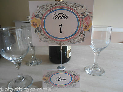 Vintage/Antique/Victorian Shabby Chic Style.. Wedding Table Numbers..8 Designs