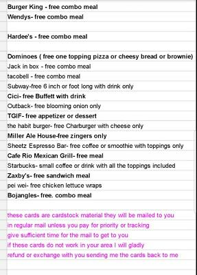 30 free, Combo Meal Vouchers!! No Expiration!!!!PICK FROM LIST restaurant  food
