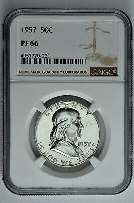 1957 50c Silver Proof Franklin Half Dollar NGC PF 66