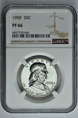 1958 50c Silver Proof Franklin Half Dollar NGC PF 66