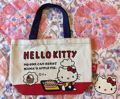 4386009ed Sanrio Japan Hello Kitty Canvas Mini Tote Bag, Lunch Bag ( Baking Pie  Design )
