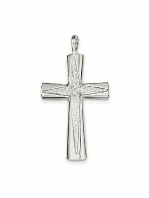 925 Sterling Silver Byzantine Cross Charm Pendant - 30x55mm 3.67 Grams