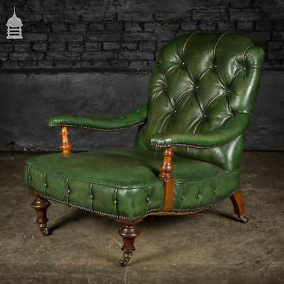 Victorian Howards Style Low Green Studded Leather Arm Chair