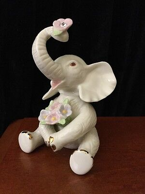 "Lenox Elephant Figurine, 4.5"", Holds White Crystal ""Birthstone"" for April"