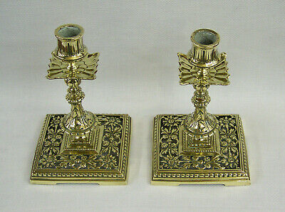 C1880 Fine Pair Of Antique Victorian Ornate Heavy Cast Brass Candlesticks Lights