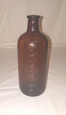 "Vintage Apothecary Brown Glass 500 Mils Graduated Medicine Bottle 7.5"" No Chips"