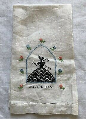 Vintage Handmade Cross Stitch Tea Towel White Linen Welcome Guest Fingertip