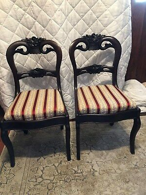 Pair of Antique Victorian Mahogany Balloon Back Parlor Side Chairs Floral Carved