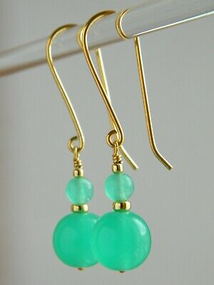 Vintage Art Deco Jade Green URANIUM Glass Beads & 24K Gold Vermeil Drop Earrings