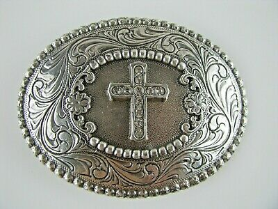 BELT BUCKLE NOCONA Oval Buckle Silver Tone Metal with Cross Bling