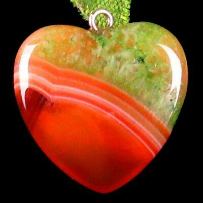 20x20x6mm Green Red Onyx Druzy Geode Agate Heart Pendant Bead A84586