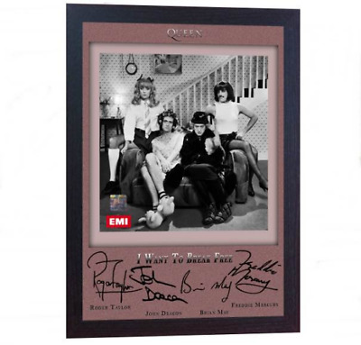 NEW! Freddie Mercury &Queen signed autograph Music pre-print poster photo Framed