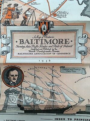 Original 1936 Pictorial Map of Historic BALTIMORE Maryland