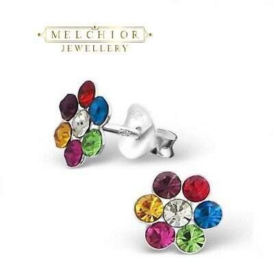 435c20303 Sterling Silver Childrens Girls Multi Coloured Flower Stud Earrings Gift  Boxed