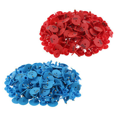 200PCS Numbered Livestock Ear Tags for Pig Cow Cattle Goat Sheep Blue & Red