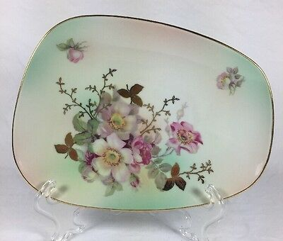 Schumann Arzberg Plate Pink Rose Garden Gold Trim Porcelain Decorative