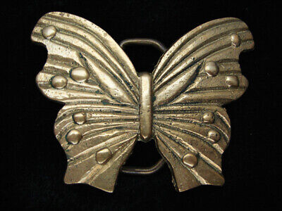 QL09136 *NOS* VINTAGE 1970s CUT-OUT **BUTTERFLY** SOLID BRASS BARON BELT BUCKLE