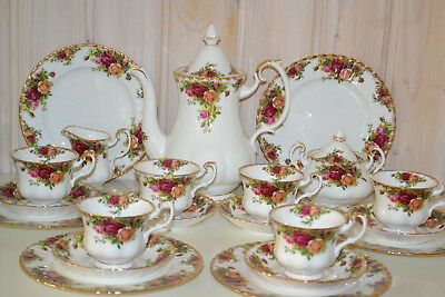 Royal Albert-Bone China-England-Old Country Roses-Tee/Gr.Kaffeeservice-21T.-1962
