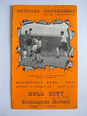 Hull City v Doncaster Rovers 1951/1952 - Football Programme