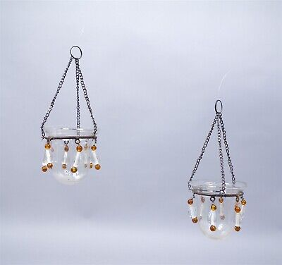Unusual Antique Pair Early 20c Art Glass Dangle Iron Hanging Flower Holders