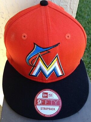 wholesale dealer dfe0d fb1ab NEW Miami Marlins Orange New Era 9FIFTY MLB Black Brim Strapback Hat Cap