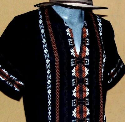 Mexican Men Black Guayabera Pueblo Casual Shirt Summer Sport Cotton Embroidered
