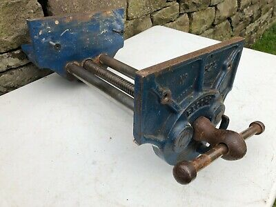 "VINTAGE 1950s RECORD 52 1/2 QR WOOD WORK JOINERS BENCH VICE GWO 9"" x 13"" JAWS"