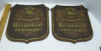 2 Vintage Heineken Beer  Faux Wood Prosit Beer Sign plaque 1960s 70s