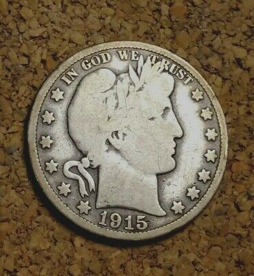 1915 P 50C Barber Half 90% Silver US Coin VG BH292 VERY RARE ONLY 138K MINTED