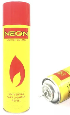 NEON ULTRA REFINED BUTANE GAS X 10 FILTERED LIGHTER REFILL FUEL w/ 5 Adapters