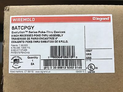 "Wiremold 8ATCPGY  8"" Recessed Poke-Thru Assembly ** New In Box, Free Shipping **"