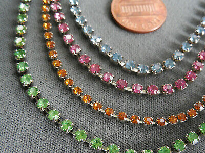 """Vintage NOS lot of 4 nice crystal colored rhinestone prong set15"""" necklaces D39"""