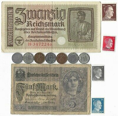 WWI Mark WWII Germany Note Stamp Coin Collection Rare Old War Vintage German Lot