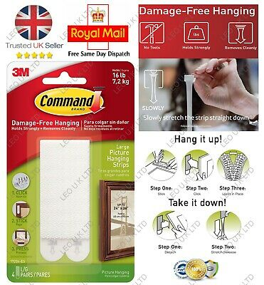 3M Command Strips Self Adhesive Picture Frame Hanging Strips BLACK  WHITE LARGE