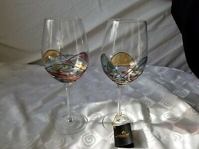Antoni Barcelona Mouth Blown Hand Painted Pair Large Wine Glasses 29 oz