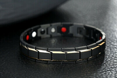 Mens Stainless Steel Magnetic Therapeutic Energy Pain Relief Bracelet + Box B570