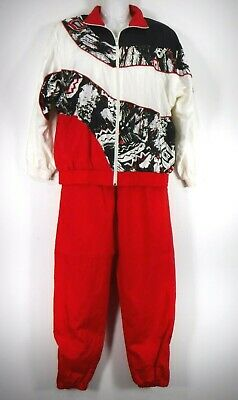 Vtg 80s 90s SUNTERRA Women's Medium Track Jogging Suit Nylon Red Black