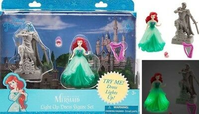 DISNEY Little Mermaid Ariel Light up Dress, Prince Eric Statue HARP Pearl, Polly