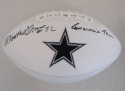 Ed Too Tall Jones Signed Dallas Cowboys Football with America's Team Inscription