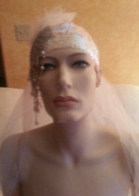 Gatsby 20's Flapper Iridescent White & Blue Sequined Headpiece Hat Bridal