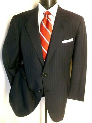 OXXFORD Dark Blue /Gray Striped 2Btn Suit 46R Pants Pleated-Front 41W/30 1/2