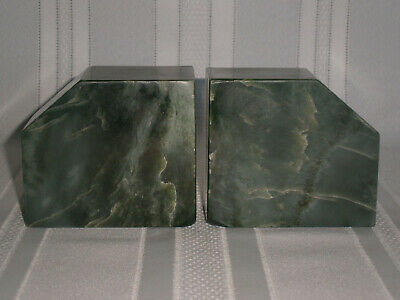 Heavy Deco Vintage Pair Green Marble Garniture Bookends 1930-40's.